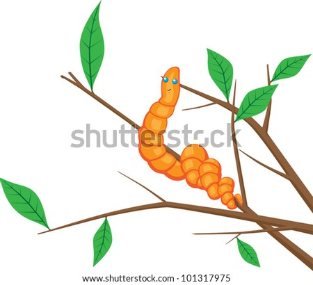 Earthworm on a branch - stock vector