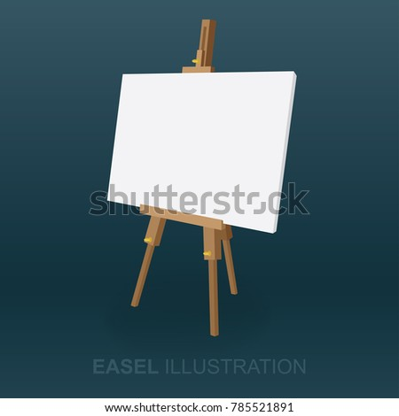 Easel vector illustration. Side view isolated easel.