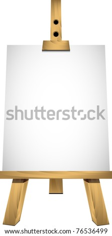Easel with a blank sheet of white paper for your image or text - stock vector