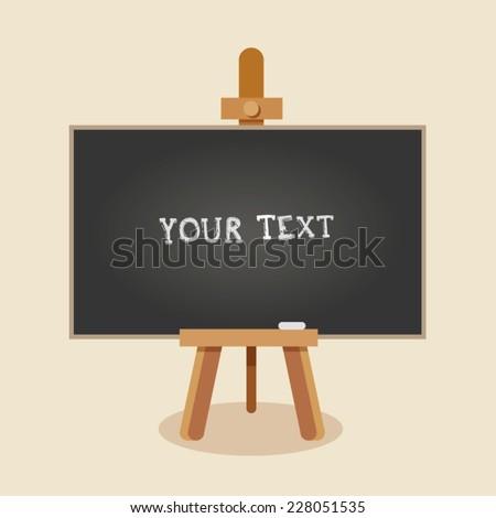 Easel with blackboard. Vector Illustration. - stock vector