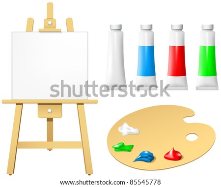 Easel with blank board and palette - stock vector