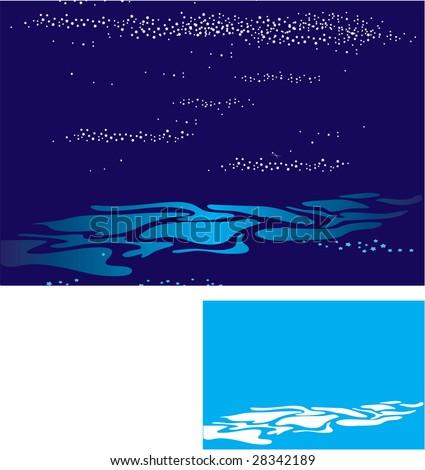 Easily editable vector - Curly layers of waves under a dark sky - stock vector