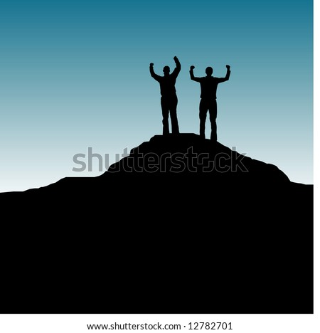 Easily editable vector of a woman and a man standing on top of a mountain