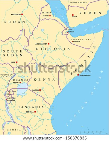 East Africa Political Map - Political map of East Africa with capitals, national borders, rivers and lakes. With english labeling and scale. - stock vector