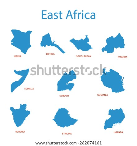 east africa - vector maps of territories - stock vector