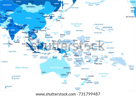 East Asia Oceania Map Detailed Vector Stock Vector - Map of east asia