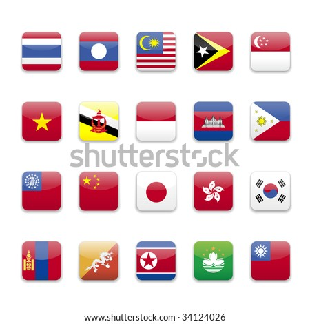 East Asia and south East Asia flags round icon set  - stock vector