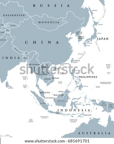 East Asia Political Map Countries Borders Stock Vector - Indonesia political map