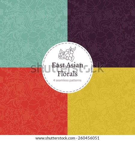 East Asian Floral Pattern Set - stock vector