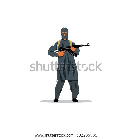 East Islamic commandos with a gun sign. Terrorist with firearm. Violence and Crime. Vector Illustration. Branding Identity Corporate logo design template Isolated on a white background - stock vector