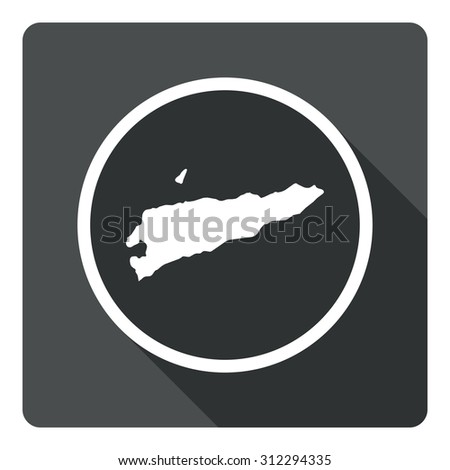 East Timor map dark sign icon. Country map geography symbol. Gray flat East Timor button with long shadow. Vector icon map of East Timor on dark background. Modern UI website navigation - stock vector