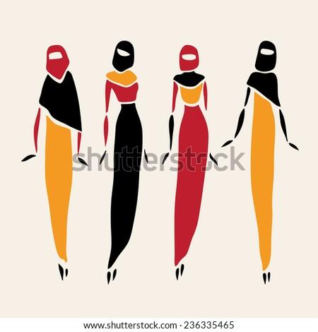 East women in veiled. Beautiful silhouette. Vector illustration. - stock vector