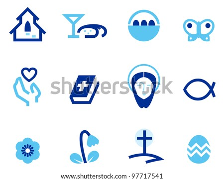 Easter and christianity icon set isolated on white ( blue ) - stock vector