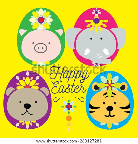 EASTER ANIMAL Big 4 dressed up as easter egg paraded for easter celebration. Cute 4 mammals light the Mardi gras up with lovely costume easter egg entertain people for the holy season.  - stock vector