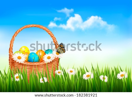 Easter background. Easter eggs and flowers in a basket in the grass. Vector.