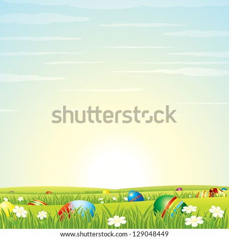 Easter Background. Easter Eggs in Green Grass with Daisy Flowers. Vector Illustration - stock vector