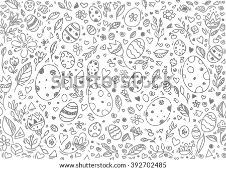 Easter background, egg pattern. Happy Easter greeting card. Vector artwork. Holiday concept for invitation, card, ticket, branding, logo, label, emblem. Coloring book page for adult, children, kids - stock vector
