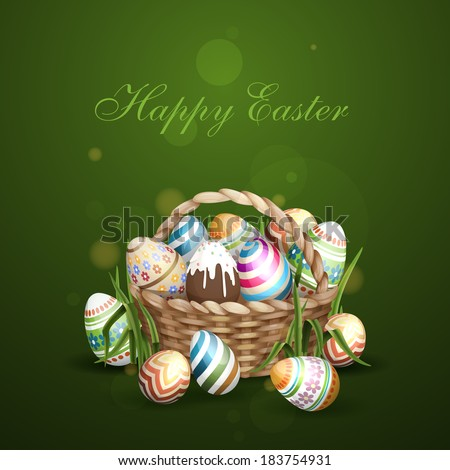 Easter Background With A Basket Full Easter Eggs. Vector Illustration. Eps 10. - stock vector