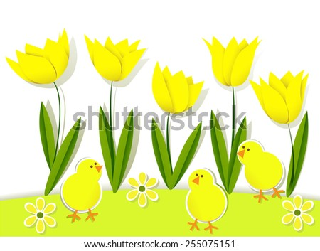 Easter background with chickens and tulips - stock vector