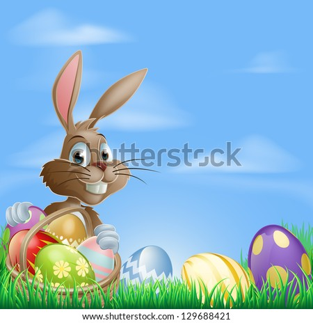 Easter background with copyspace in the sky featuring a cute Easter Bunny and lots of painted Easter Eggs - stock vector