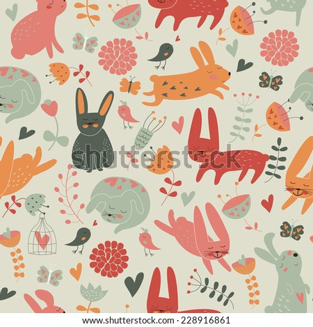 Easter background with cute bunnies, flowers and hearts in cartoon style. Happy Easter greeting card. - stock vector