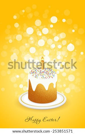 Easter Background with Decorated Cake on orange background - stock vector