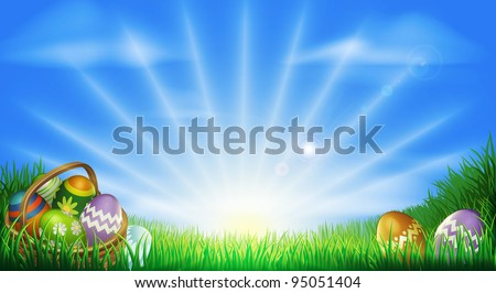 Easter background with decorated Easter eggs and Easter eggs in basket in a sunny field