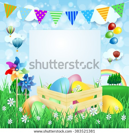 Easter background with Easter eggs and copy space. Vector illustration  - stock vector
