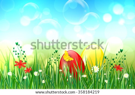 Easter background with easter eggs, grass, butterfly, flowers, bubbles and bokeh background. Vector illustration.