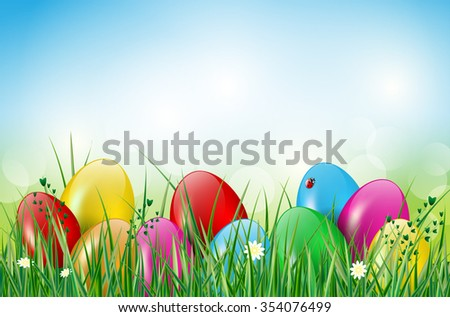 Easter background with easter eggs, grass, ladybug and flowers. Vector illustration. - stock vector