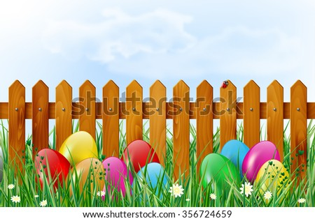 Easter background with easter eggs, wooden fence, sky, grass, and flowers. Vector illustration. - stock vector
