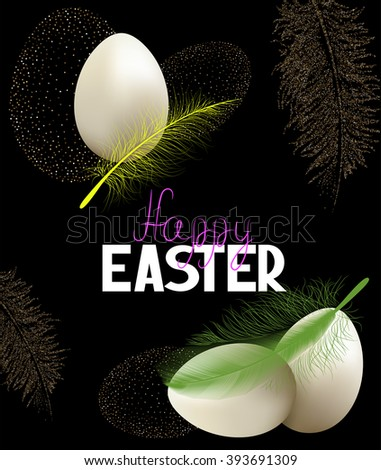 Easter background with eggs and feathers