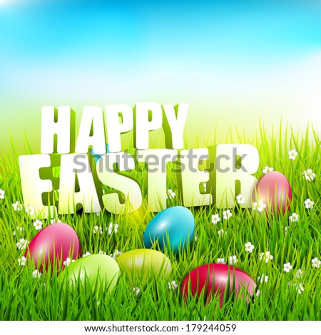 """Easter background with """"Happy Easter""""  inscription in the grass  - stock vector"""