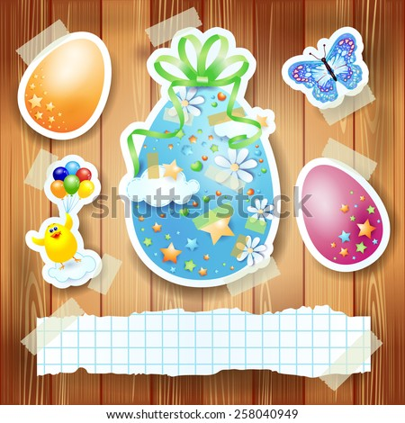 Easter background with paper elements and copy space, vector eps10 - stock vector