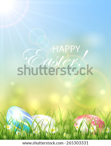 Easter background with Sun and colorful eggs in the grass, illustration. - stock vector