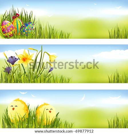 Easter banner set - stock vector