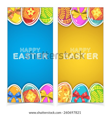 Easter banners. Holiday backdrop for card design. Eps 10 vector illustration. - stock vector