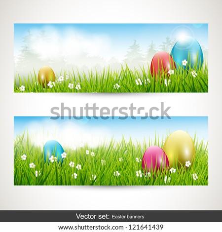 Easter banners - vector set - stock vector