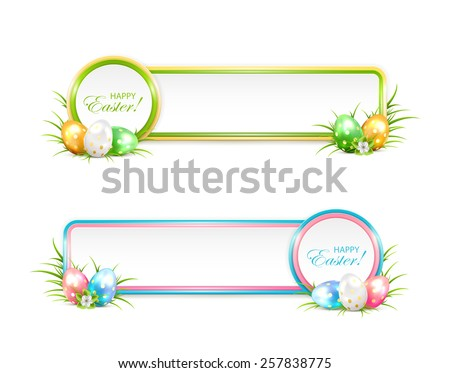 Easter banners with eggs in a grass, illustration. - stock vector