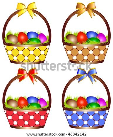 Easter basket - stock vector