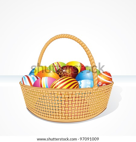Easter Basket Filled with Brightly Colored Eggs. Vector Image - stock vector