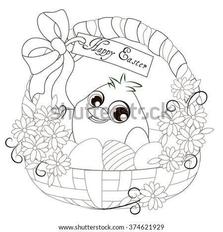 Easter basket with chick. Easter basket with chick. Holiday table children's illustration, greeting card. Page for child book coloring pages - stock vector