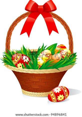 Easter basket with color eggs on green grass isolated on white background.