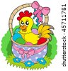 Easter basket with cute chicken - vector illustration. - stock vector
