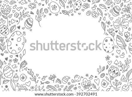 Easter border, eggs, floral pattern. Happy Easter greeting card. Vector artwork. Holiday concept for invitation, ticket, branding, logo, label, emblem. Coloring book page for adult, children, kids - stock vector