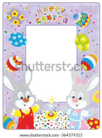 Easter border with bunnies, a fancy cake and colorfully painted eggs - stock vector