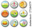 Easter bottle caps- vector buttons.  To see similar, please VISIT MY GALLERY. - stock vector