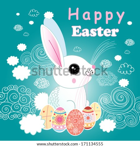Easter bright festive card with rabbit and cheerful clouds