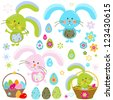 easter bunnies set - stock vector