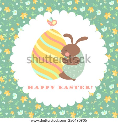Easter bunny and easter egg. Vector illustration - stock vector